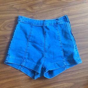 H&M High Waisted Paneled Denim Shorts